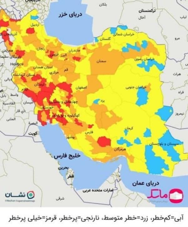 تعداد شهرستان های قرمز کرونایی ایران به 46 رسید